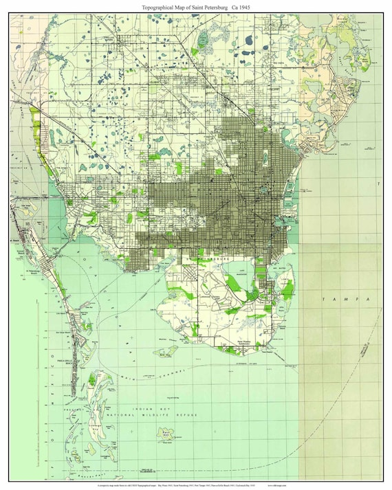 St Petersburg Florida 1945 Old Topo Map A Composite made