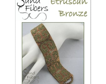 Peyote Pattern - Etruscan Bronze Peyote Cuff / Bracelet  - A Sand Fibers For Personal/Commercial Use PDF Pattern