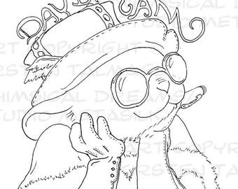 Steampunk Daydream Mouse coloring page  (PDF, line art by Kir Talmage)