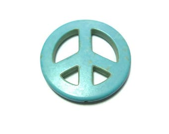 Blue Turquoise Peace Sign - Extra Large Bead - 34mm x 4mm - Howlite - Drilled Lengthwise - hippie bead - focal or pendant beads