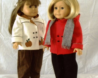 """Doll Pattern / Hooded Jacket / Slacks /  Backpack / Pattern  for an 18"""" doll / by Carol Clements"""