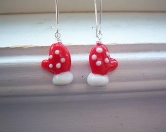 Mitten Earrings - Glove Earrings - Red Christmas Glove Earrings - Red Christmas Mitten Earrings -Christmas Earrings -