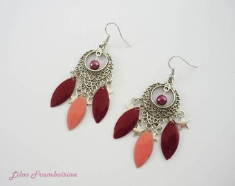 Duo coral and Burgundy chandelier earrings