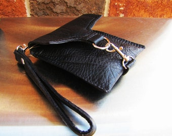 Black leather wristlet, small leather case, small Phone case wallet, credit cards wallet, Custom to fit iPhone 6, 6s, 7, 8 and X