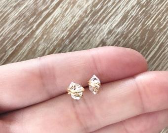 Herkimer Diamond Stud Earrings // Minimalist Earrings // Gemstone Earrings //Southern Wire // Herkimer Diamond Jewelry
