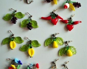 Vintage Czech Glass Fruit Earrings - Choose style.