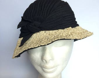 1930's Fabric and Straw Hat