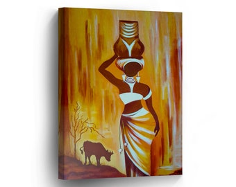 African Wall Art CANVAS PRINT Traditional Woman Figure Carrying Water Oil  Paint Art Home Decor Stretched And Framed   Ready To Hang