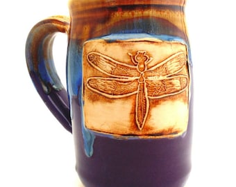Handmade Pottery Mug READY TO SHIP pottery and ceramics  Dragonfly purple  and blue and brown by Jewel Pottery