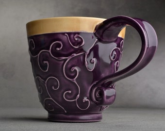 Curly Mug Made To Order Purple and Mocha Slip Trailed Mug by Symmetrical Pottery