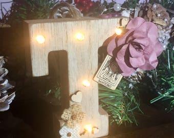 Mini light up wooden letter