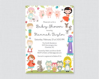 Nursery Rhyme Themed Baby Shower Printable or Printed Invitation - Nursery Rhyme Baby Shower Invites, Book Themed Baby Shower Invite 0068