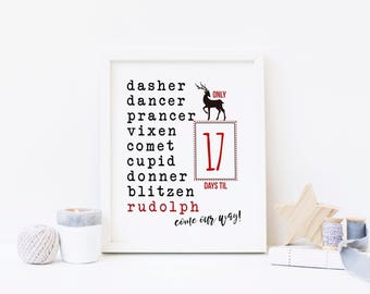Reindeer Countdown - Advent Calendar Digital Print - Instant Download