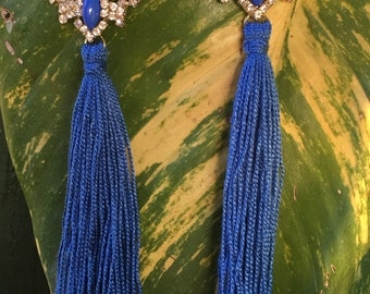 Blue Tassel Earrings, Rhinestone Tassel Earrings, Oversized Earrings, Festival Earrings, Mother's Day Gift, Tassel Jewelry