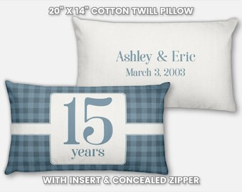 15th Anniversary Gift for Men 15 Year for Women Present Idea Him Her Gift Wife Husband Wedding Anniversary Gift Couple Pillow Personalized