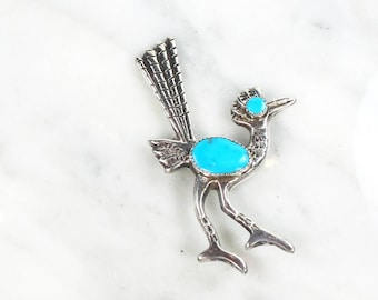 Vintage Sterling Silver Turquoise Bird Pin Sterling Silver Pin Large Roadrunner Pin Turquoise Pin Silver Pin Sterling Bird Pin