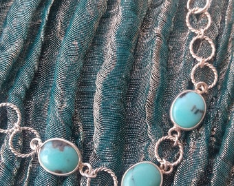 Genuine turquoise, turquoise necklace, sterling silver necklace, silver necklace, turquoise and silver, turquoise jewellery, festival