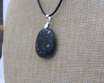 Natural Irish Beach Pebble Pendant Necklace