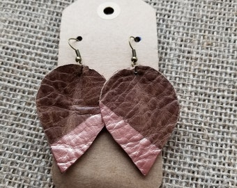 Genuine Leather Leaf Earrings