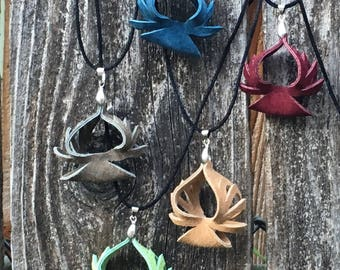 Recycled Leather Bloom Pendant