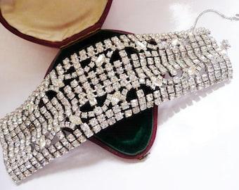 vintage Gale wide clear rhinestone bracelet | formal wedding bracelet | Art Deco style | rare designer | 1950s 1960s mid century