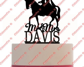 Custom Wedding Cake Topper Mr and Mrs with a horse silhouette, your last name, choice of color  CXHOR101