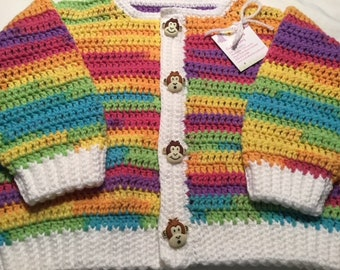 Baby Sweater with Monkey Buttons Girl or Boy