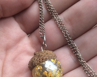 Real Acorn Cap with Yellow Marble Pendant