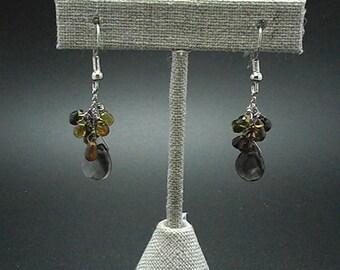 Tourmaline and Smoky Quartz Briolette Bead Dangle Drop Earrings