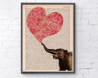 Wall decor Elephant with a Heart made of Flowers Love book print Elephant wall art  Dictionary Print gift her ANI099