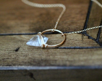 Arrowhead Crystal Gemstone Necklace , Quartz Pendant In Gold , Rose , Sterling , Modern Bohemian Hoop - Albatross  ( As Seen on GG2D )