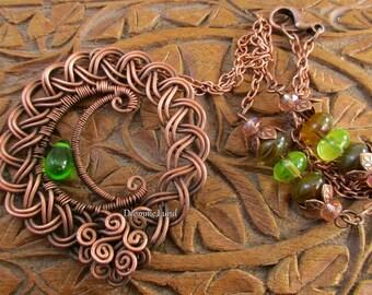 Celtic Spring Moon ~ Wirework Crescent Necklace
