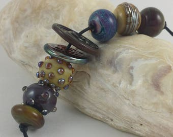 Lampwork Glass Beads Mixed lot of shapes and silver glasses