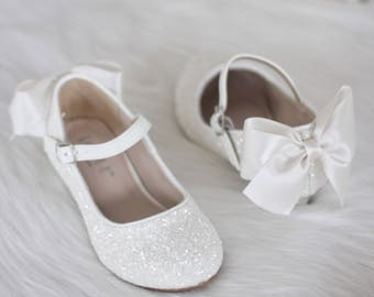 Flower girl shoes etsy girls heel glitter shoes white rock glitter mary jane heels with added satin bow flower girl shoes baptism and christening shoes mightylinksfo