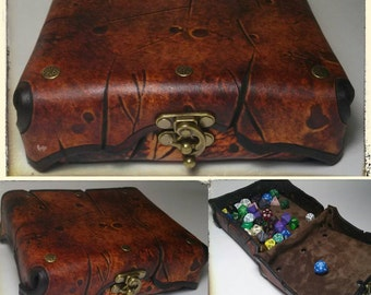 Handmade leather battle aged dice box