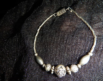 Sterling Silver Rose Bracelet  VintageSmall Metalwork Ladies Bracelet Delicate Dainty Petite Romantic Feminine Friendship Bracelet