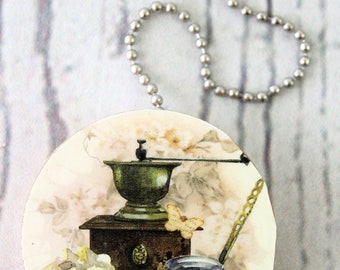 Coffee Grinder Round Wood Fan / Light Pull