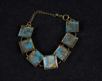 Hand Painted-one of a kind- Chain Bracelet-Antique Brass-Square Bezel