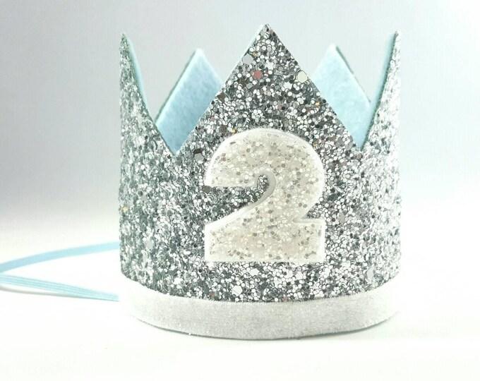 Birthday Crown || Blue and Silver Birthday || Silver Crown || Birthday Girl || 2nd Birthday || Baby Crown || Birthday