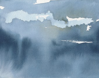 Light Through the Clouds 2, Original Abstract Waterscape Painting, Watercolour, Blue and White