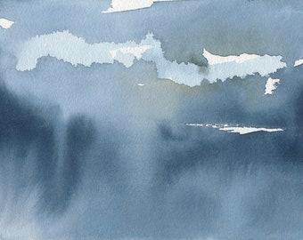 Lumière à travers les nuages 2, Waterscape abstrait peinture, aquarelle, bleu et blanc