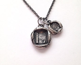 Rustic Wax Seal Initial and Lucky Charm Necklace - Made to Order