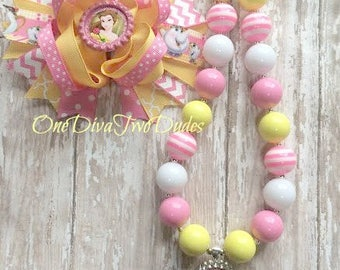 Belle chunky necklace stacked hair bow