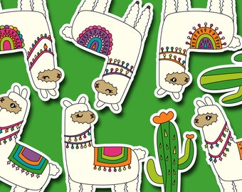 Cute llama alpaca clipart commercial use, graphic design, llama cactus digital images, instant download