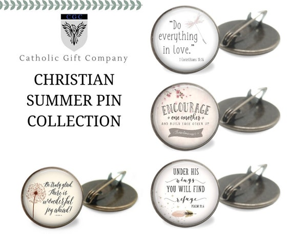 New Bible Verse Brooch Pin in bronze - One inch pin - CHRISTIAN SUMMER PIN Collection