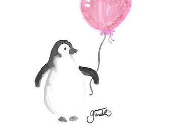 Penguin with Heart Balloon digital print