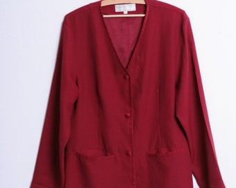 Jacqueline de Young Collection Womens L Jacket Long Blazer V Neck