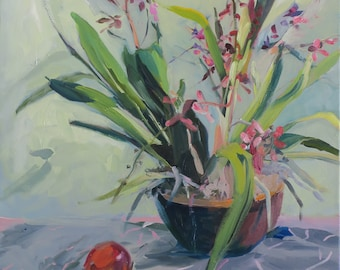Amazing pink orchid oil painting - large painting - housewarming gift , birthday gift - light green background i one of a kind - original