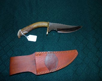 Custom made genuine Deer Antler bowie knife with sheath