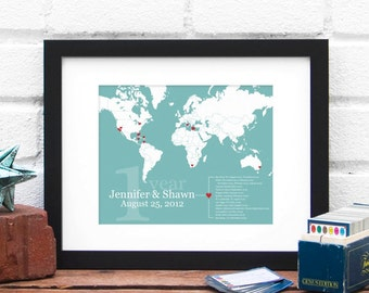 World Travel Map, World Map Print, Retirement Gift, One Year Anniversary Husband Gift, Gifts for Him Military Map, Couples Anniversary Gift